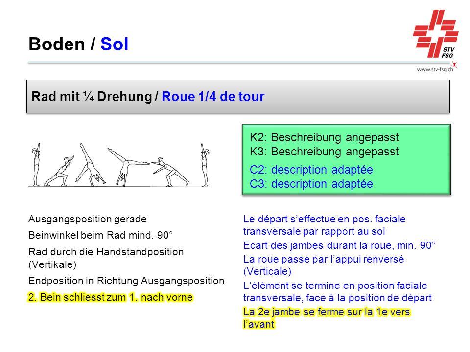 Boden / Sol Rad mit ¼ Drehung / Roue 1/4 de tour