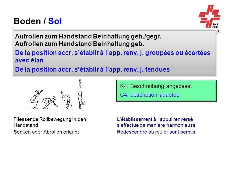 Boden / Sol Aufrollen zum Handstand Beinhaltung geh./gegr. Aufrollen zum Handstand Beinhaltung geb.