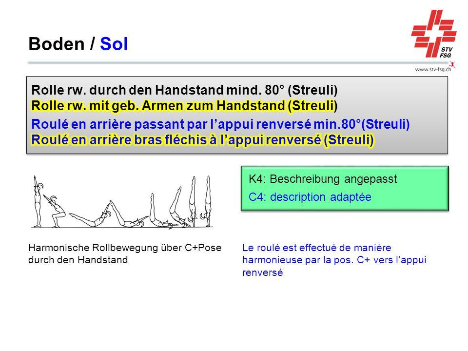 Boden / Sol Rolle rw. durch den Handstand mind. 80° (Streuli) Rolle rw. mit geb. Armen zum Handstand (Streuli)