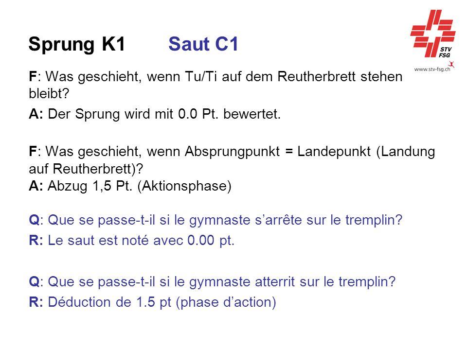 Sprung K1 Saut C1 F: Was geschieht, wenn Tu/Ti auf dem Reutherbrett stehen bleibt A: Der Sprung wird mit 0.0 Pt. bewertet.