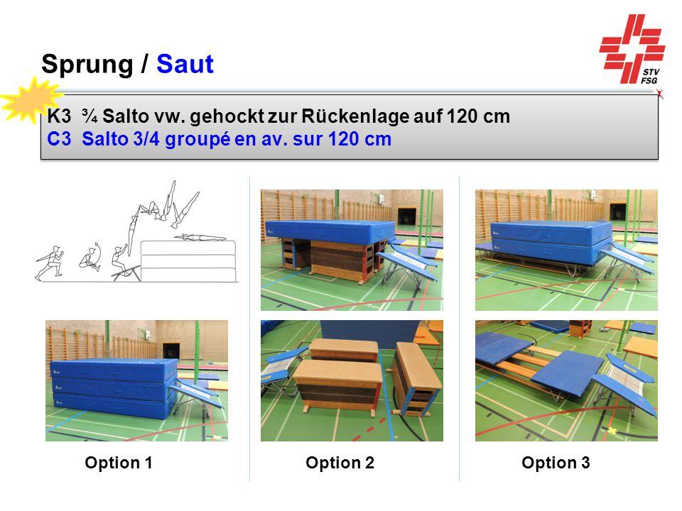 Sprung / Saut K3 ¾ Salto vw. gehockt zur Rückenlage auf 120 cm C3 Salto 3/4 groupé en av. sur 120 cm.