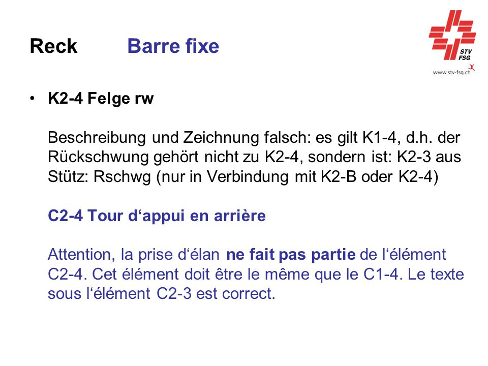 Reck Barre fixe