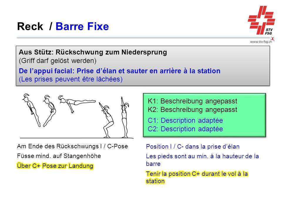 Reck / Barre Fixe Aus Stütz: Rückschwung zum Niedersprung (Griff darf gelöst werden)