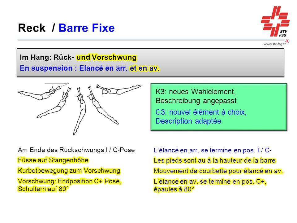 Reck / Barre Fixe Im Hang: Rück- und Vorschwung