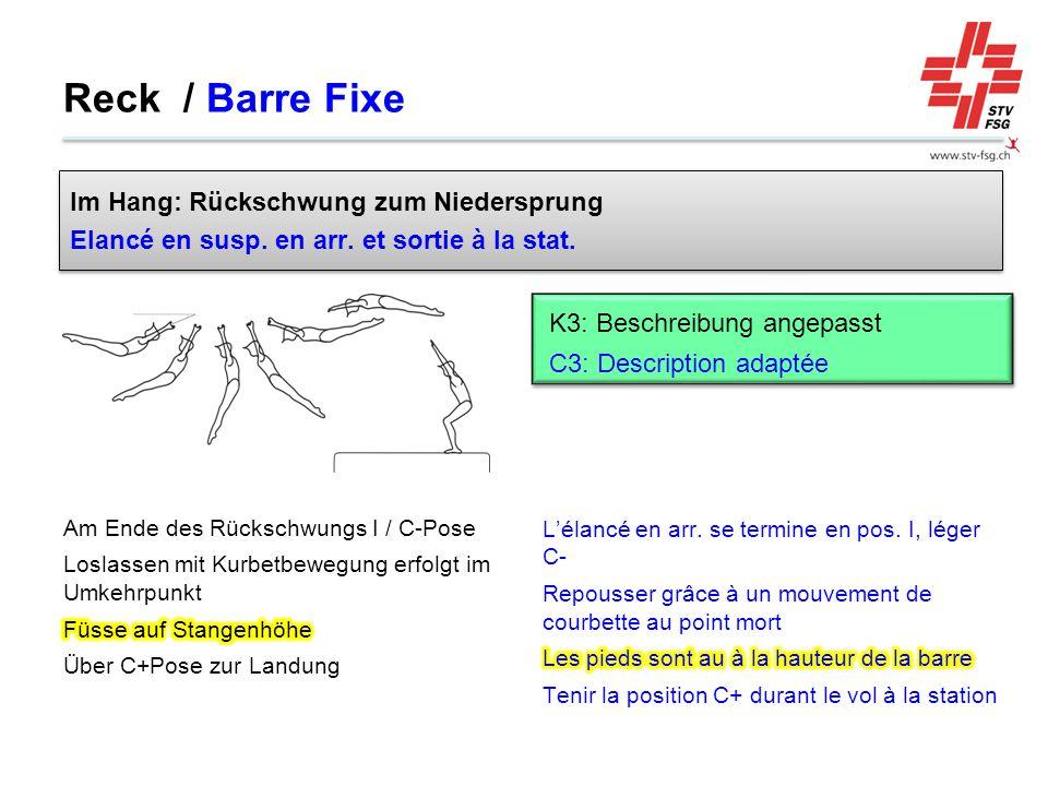 Reck / Barre Fixe Im Hang: Rückschwung zum Niedersprung