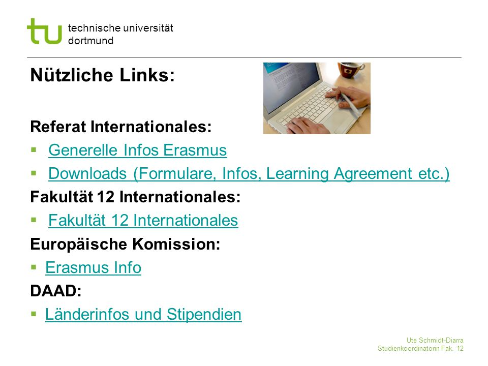 Nützliche Links: Referat Internationales: Generelle Infos Erasmus
