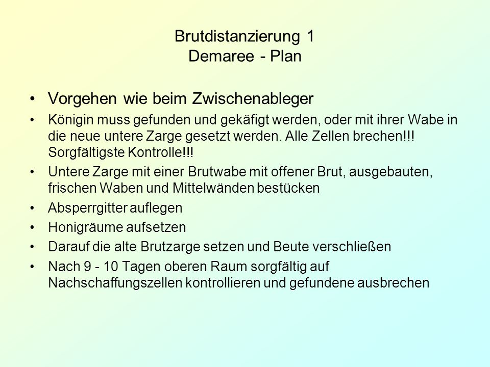 Brutdistanzierung 1 Demaree - Plan