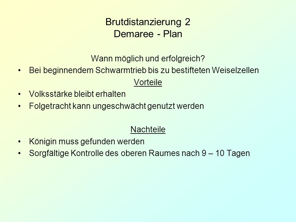 Brutdistanzierung 2 Demaree - Plan