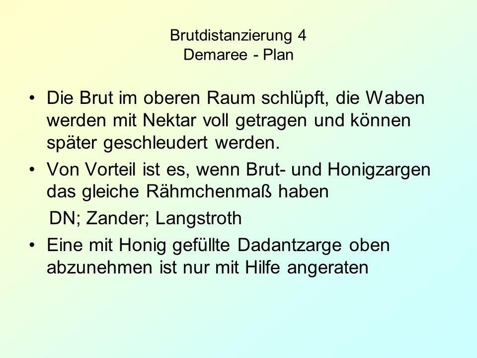 Brutdistanzierung 4 Demaree - Plan