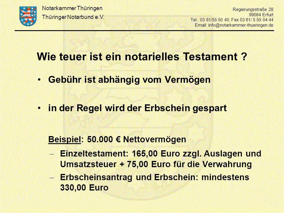 Wie teuer ist ein notarielles Testament