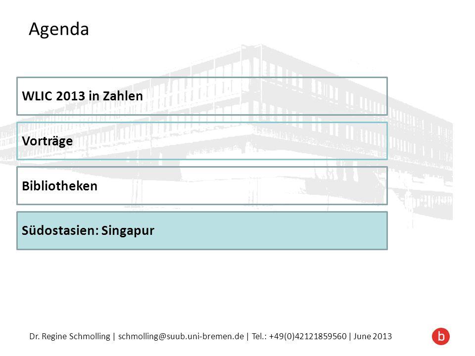 Agenda WLIC 2013 in Zahlen Vorträge Bibliotheken Südostasien: Singapur