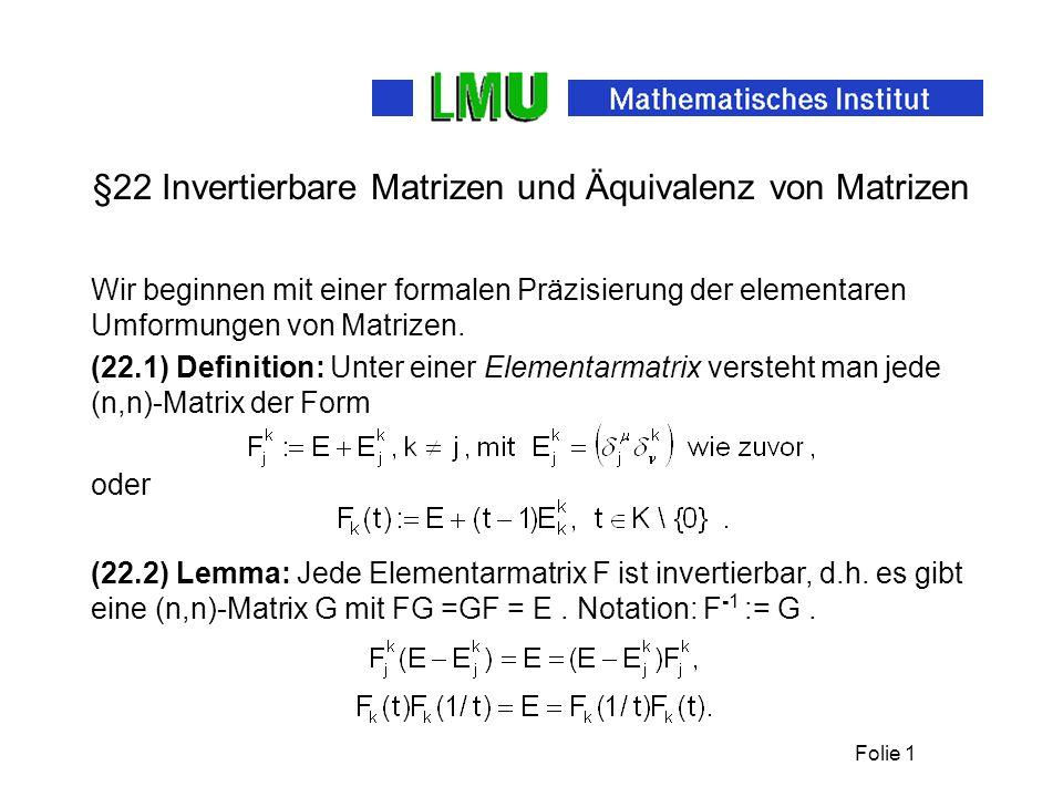 §22 Invertierbare Matrizen und Äquivalenz von Matrizen