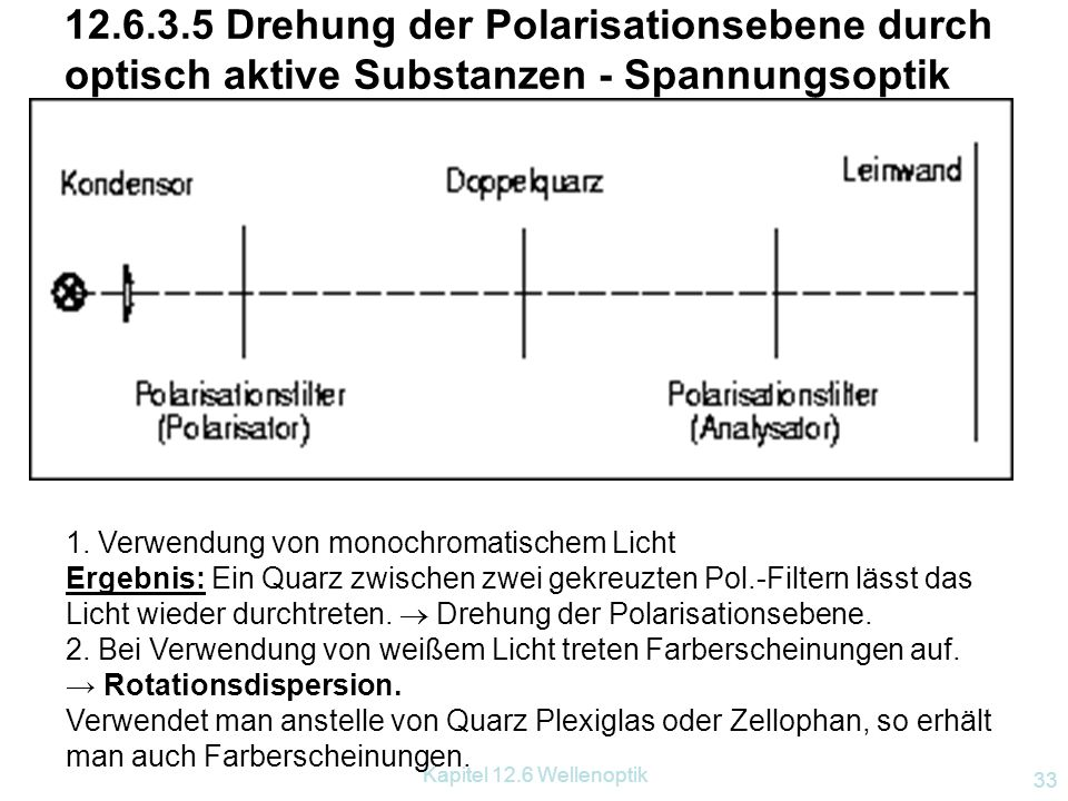 12.6.3.5 Drehung der Polarisationsebene durch optisch aktive Substanzen - Spannungsoptik
