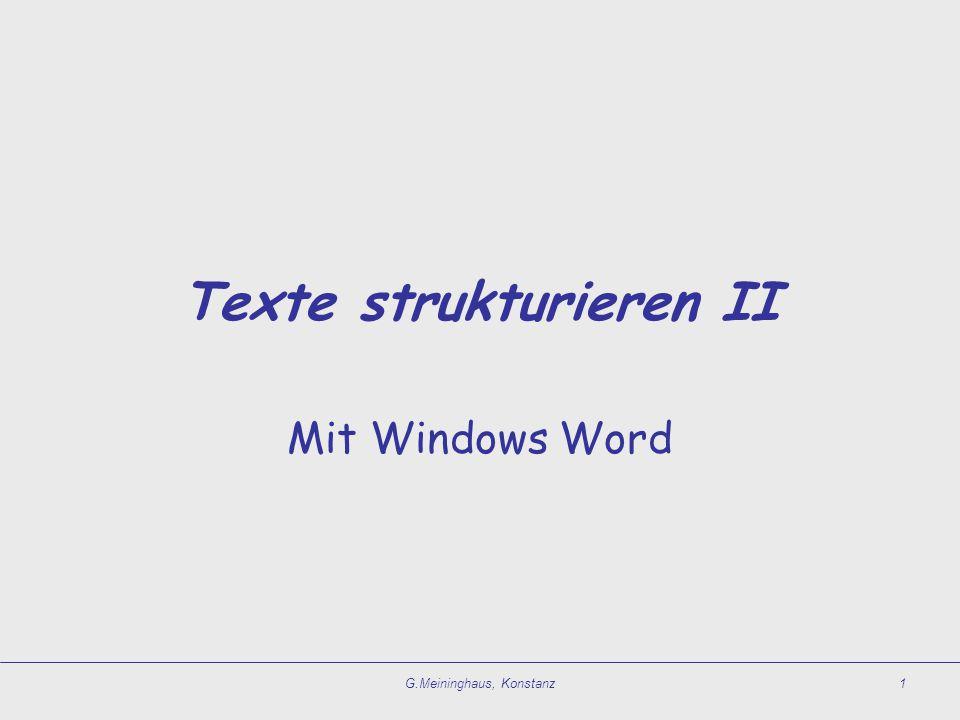 Texte strukturieren II