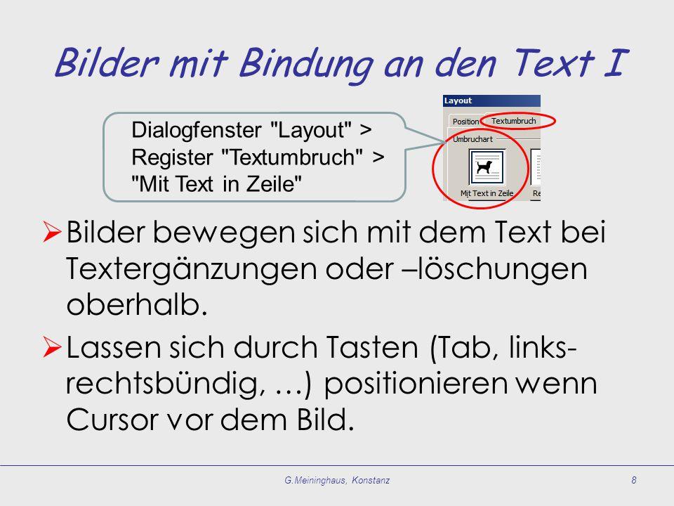Bilder mit Bindung an den Text I