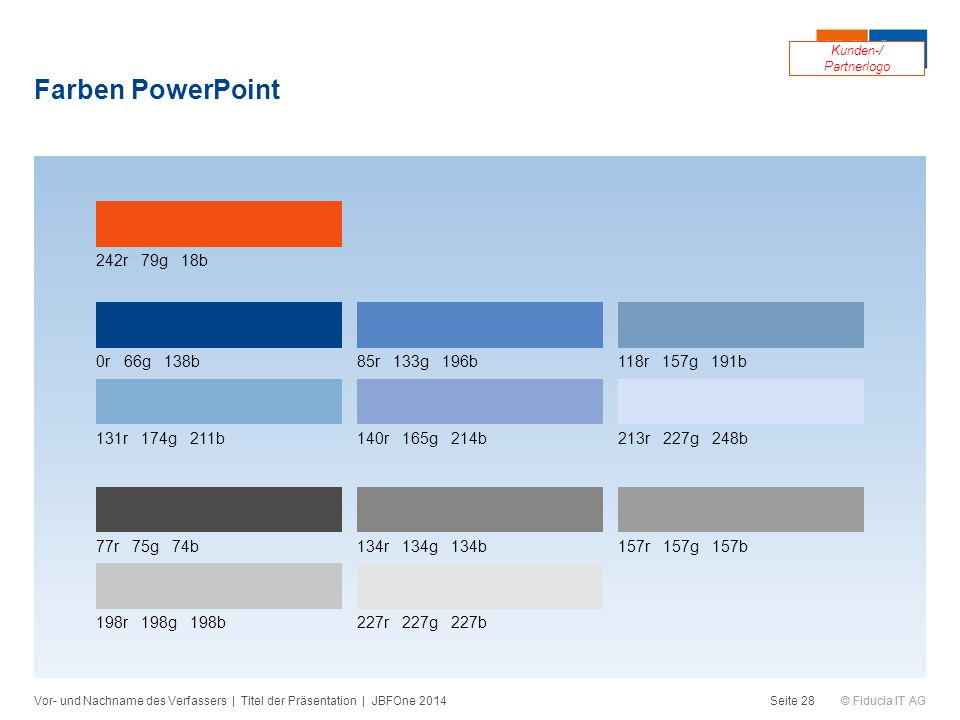 Farben PowerPoint 242r 79g 18b 0r 66g 138b 85r 133g 196b