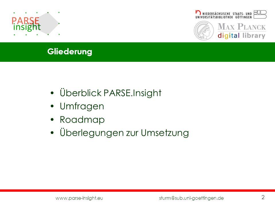 Überblick PARSE.Insight Umfragen Roadmap Überlegungen zur Umsetzung