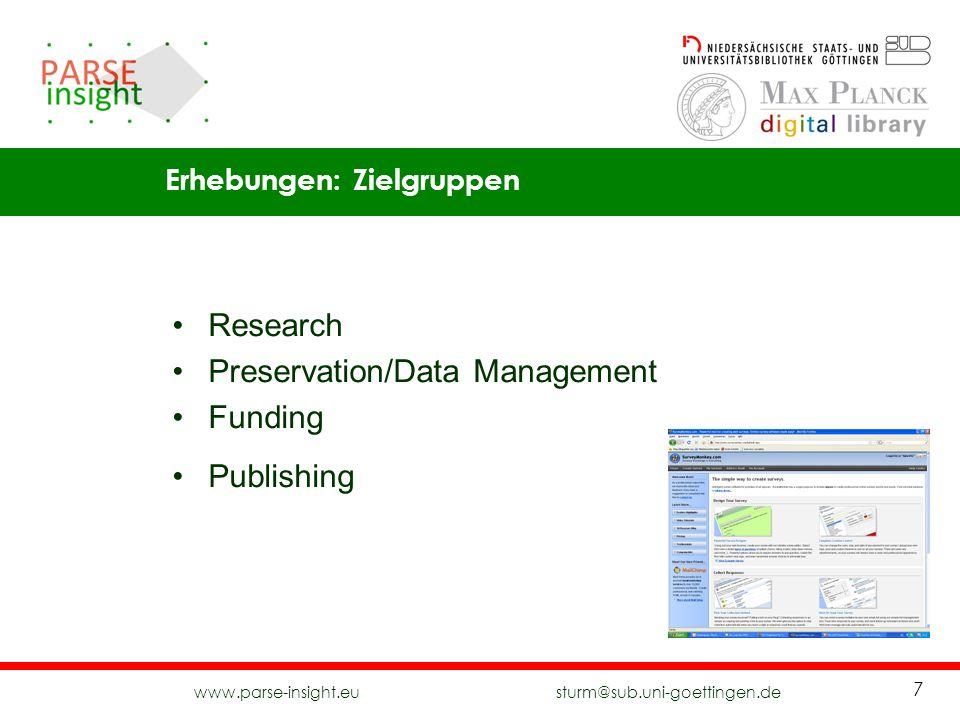 Preservation/Data Management Funding Publishing