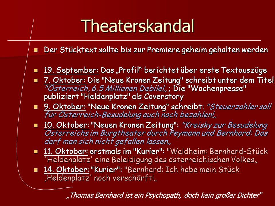 """Theaterskandal Der Stücktext sollte bis zur Premiere geheim gehalten werden. 19. September: Das """"Profil berichtet über erste Textauszüge."""
