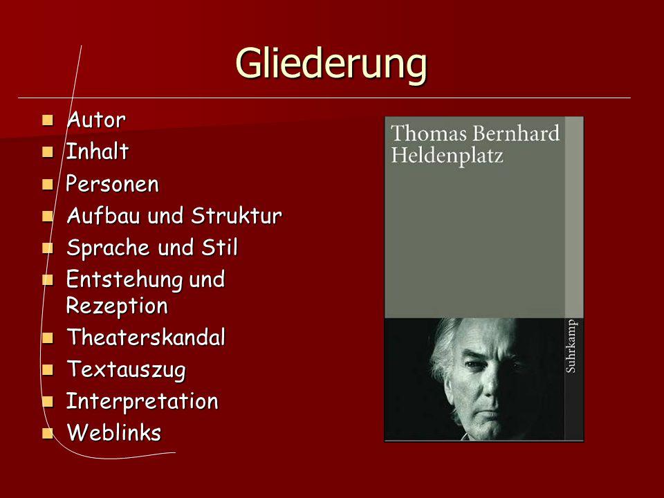 Gliederung Autor Inhalt Personen Aufbau und Struktur Sprache und Stil