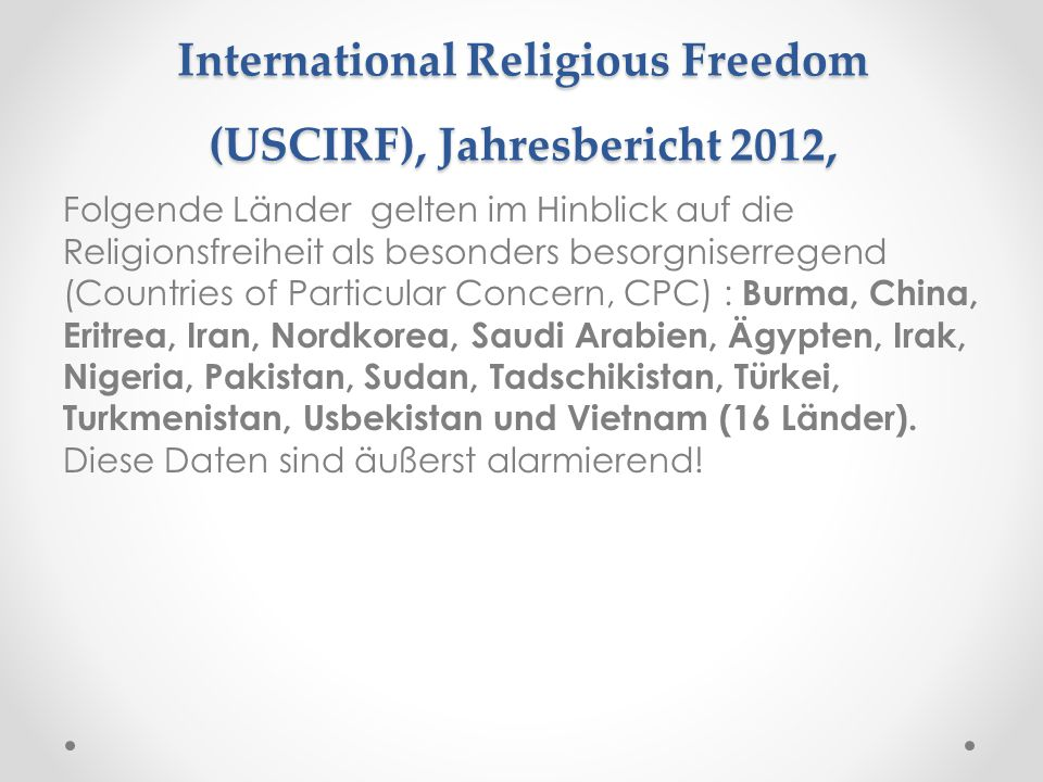 United States Commission on International Religious Freedom (USCIRF), Jahresbericht 2012,