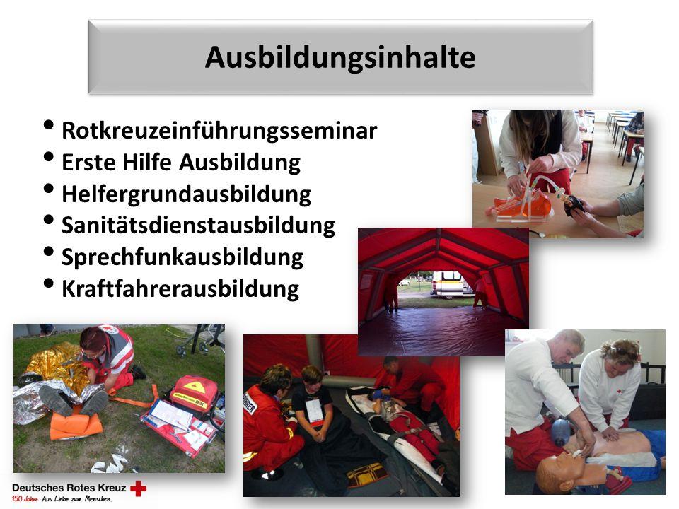 Ausbildungsinhalte Rotkreuzeinführungsseminar Erste Hilfe Ausbildung