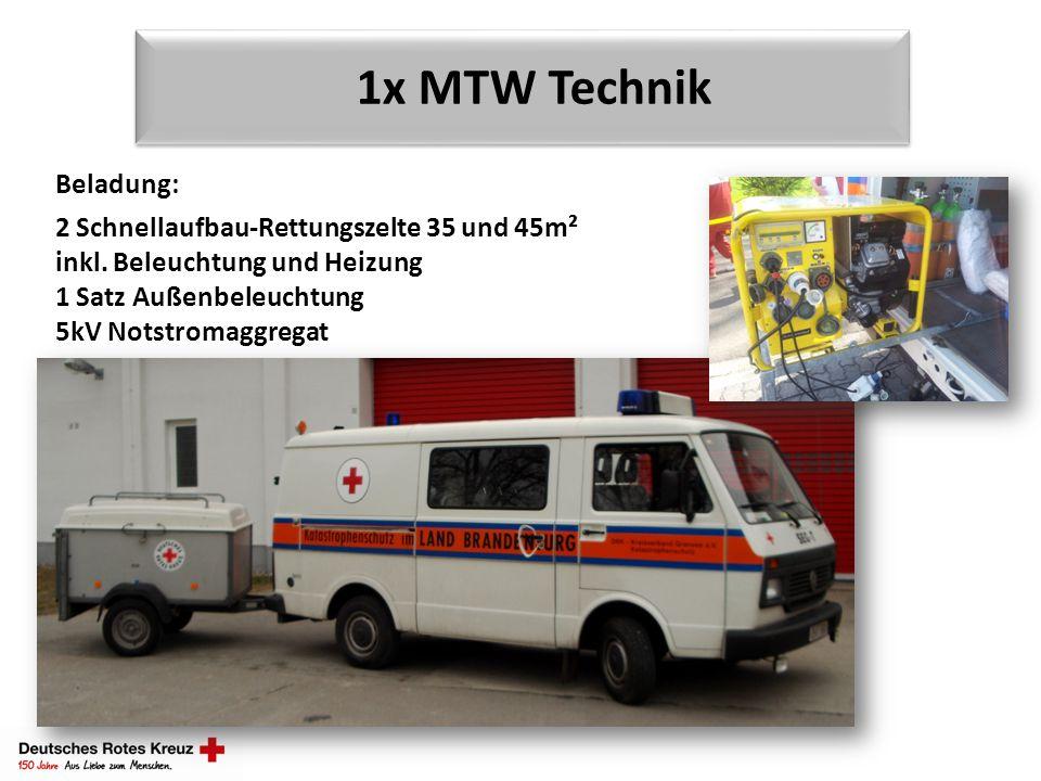 1x MTW Technik Beladung: 2 Schnellaufbau-Rettungszelte 35 und 45m²