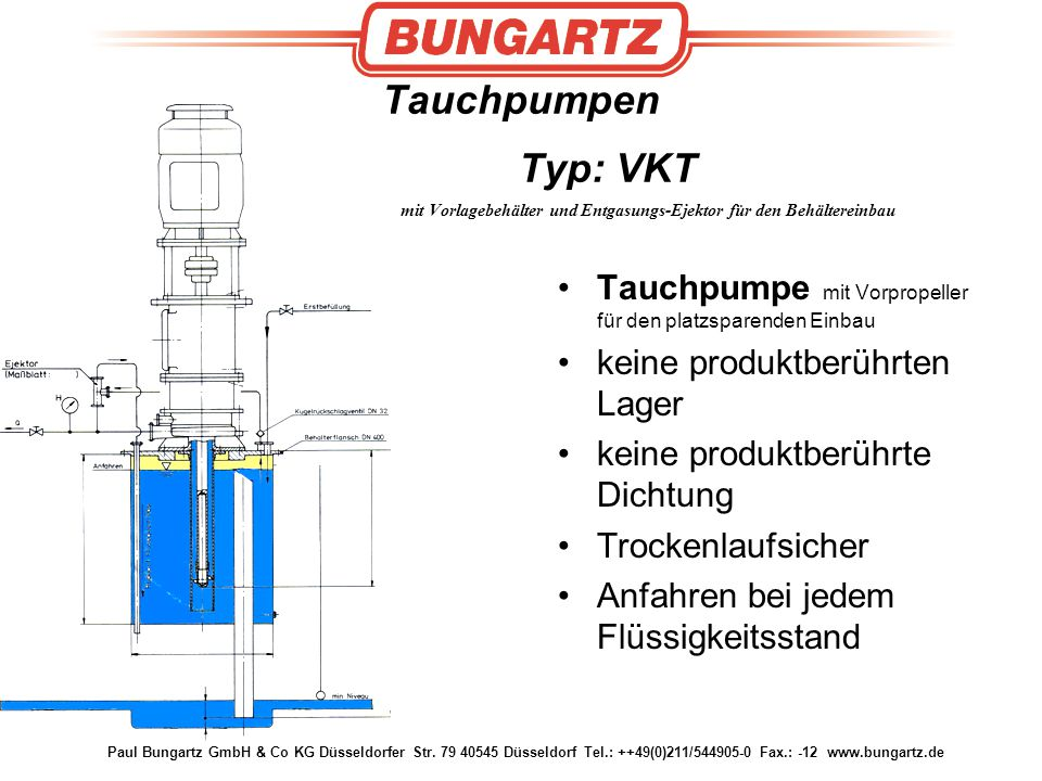 Tauchpumpen Typ: VKT mit Vorlagebehälter und Entgasungs-Ejektor für den Behältereinbau
