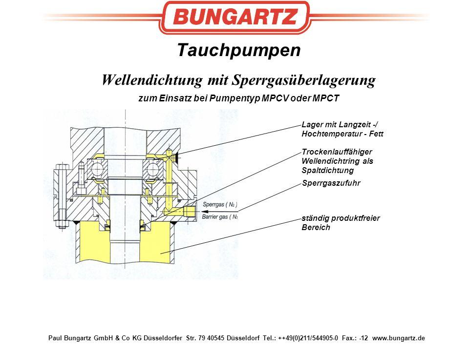 Tauchpumpen Wellendichtung mit Sperrgasüberlagerung zum Einsatz bei Pumpentyp MPCV oder MPCT