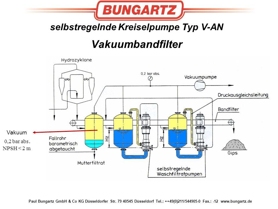 selbstregelnde Kreiselpumpe Typ V-AN Vakuumbandfilter