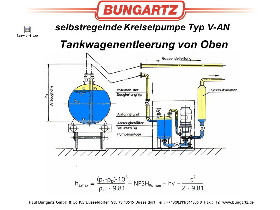 selbstregelnde Kreiselpumpe Typ V-AN Tankwagenentleerung von Oben