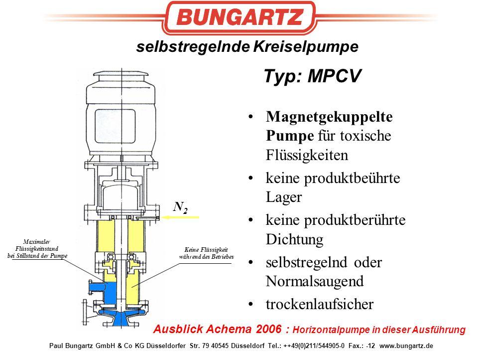 selbstregelnde Kreiselpumpe Typ: MPCV