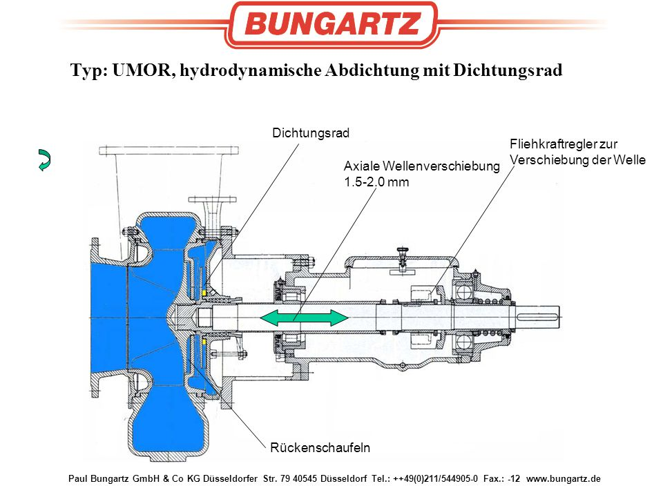 Typ: UMOR, hydrodynamische Abdichtung mit Dichtungsrad