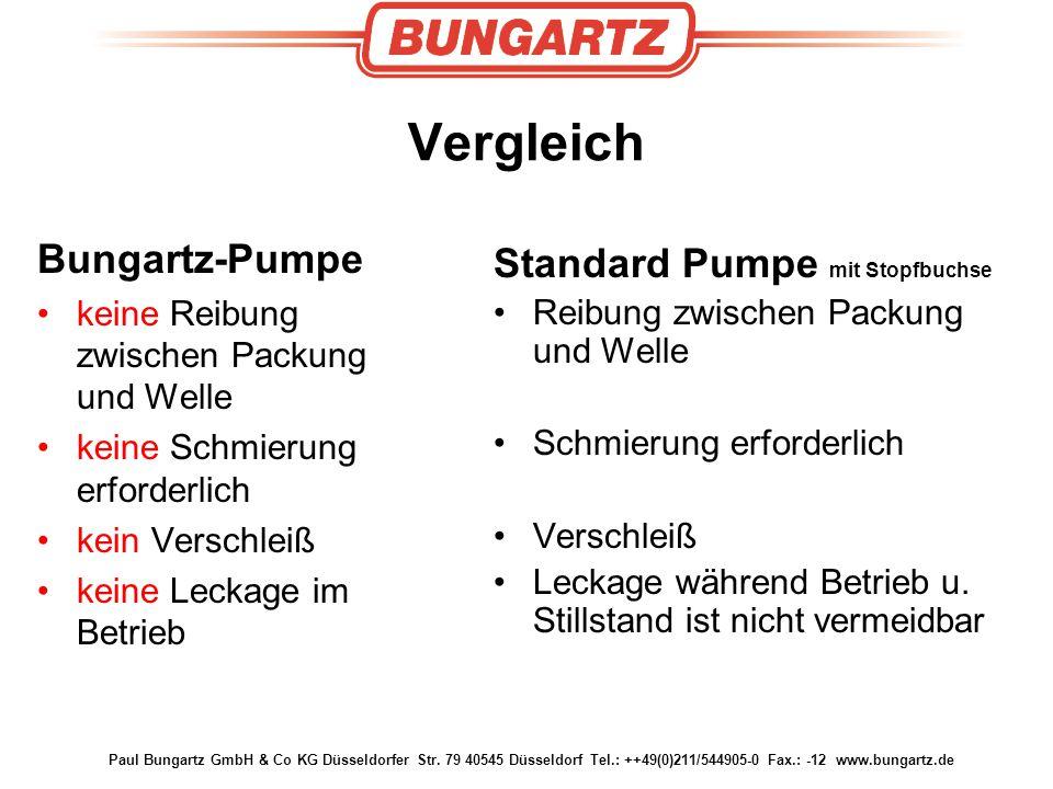 Vergleich Bungartz-Pumpe Standard Pumpe mit Stopfbuchse