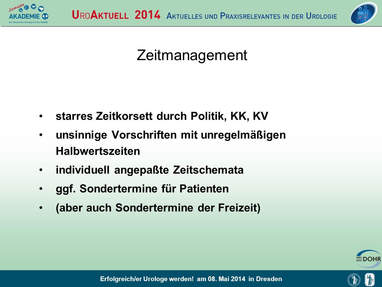 Zeitmanagement starres Zeitkorsett durch Politik, KK, KV