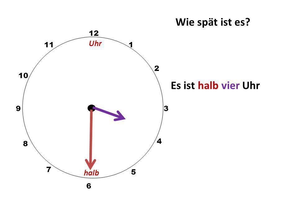 Wie spät ist es Es ist halb vier Uhr Uhr halb 12 11 1 2 10 9 3 4 8 7