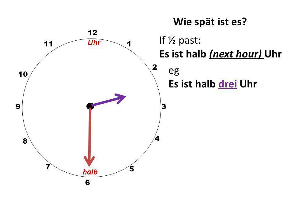 Es ist halb (next hour) Uhr