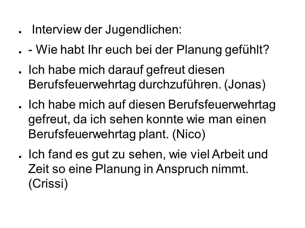 Interview der Jugendlichen:
