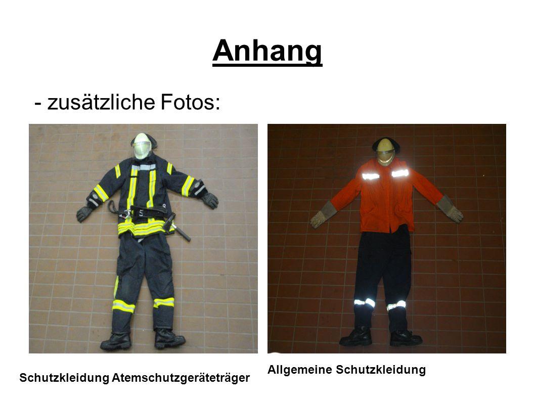 Anhang Allgemeine Schutzkleidung Schutzkleidung Atemschutzgeräteträger