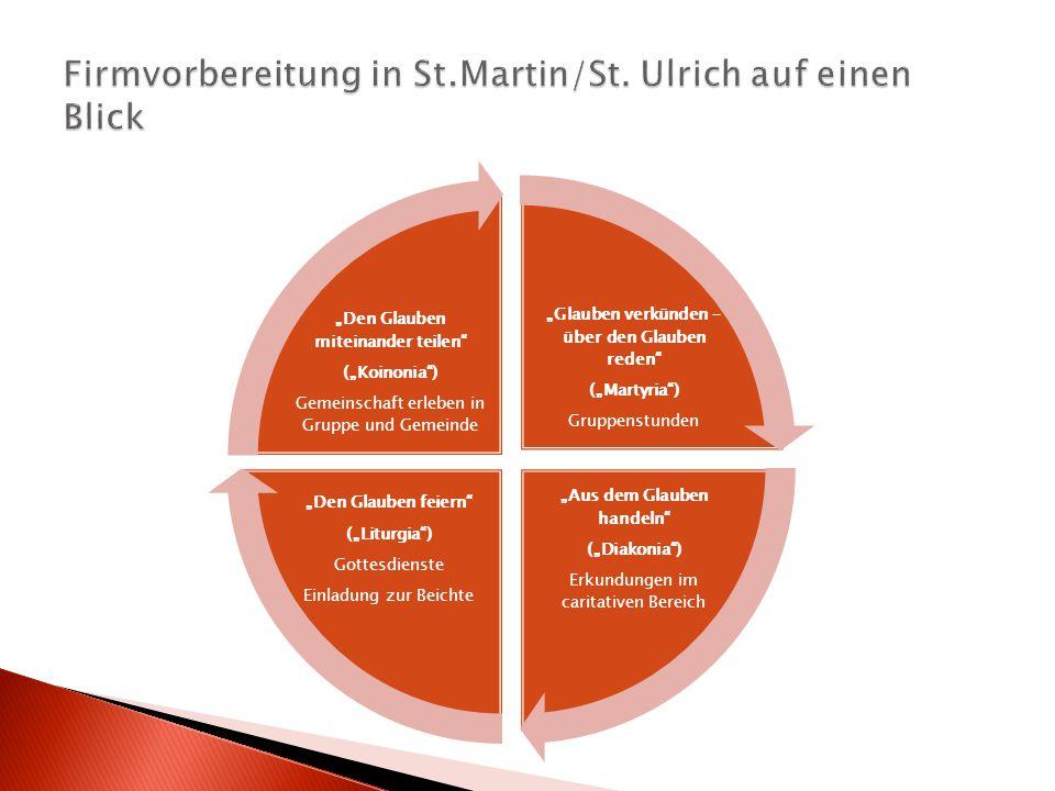 Firmvorbereitung in St.Martin/St. Ulrich auf einen Blick