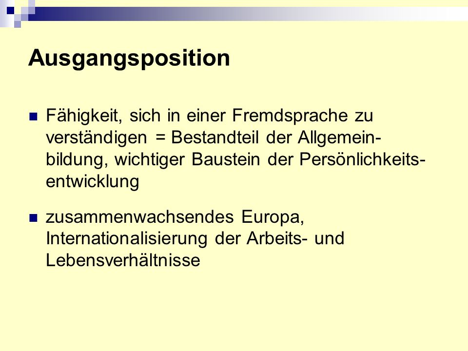 Ausgangsposition