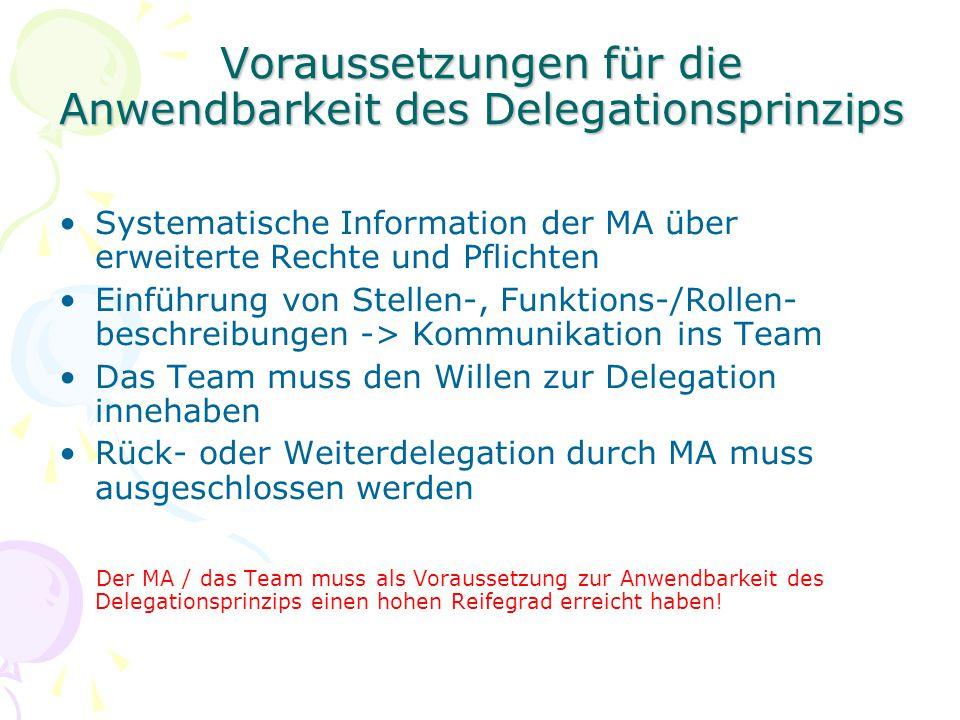 Voraussetzungen für die Anwendbarkeit des Delegationsprinzips