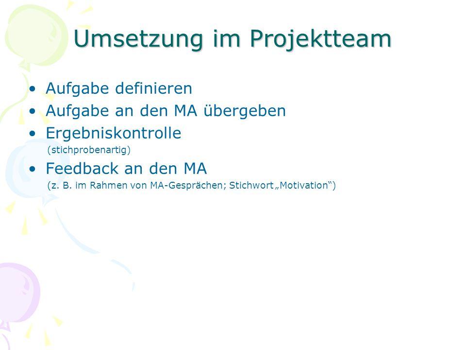 Umsetzung im Projektteam