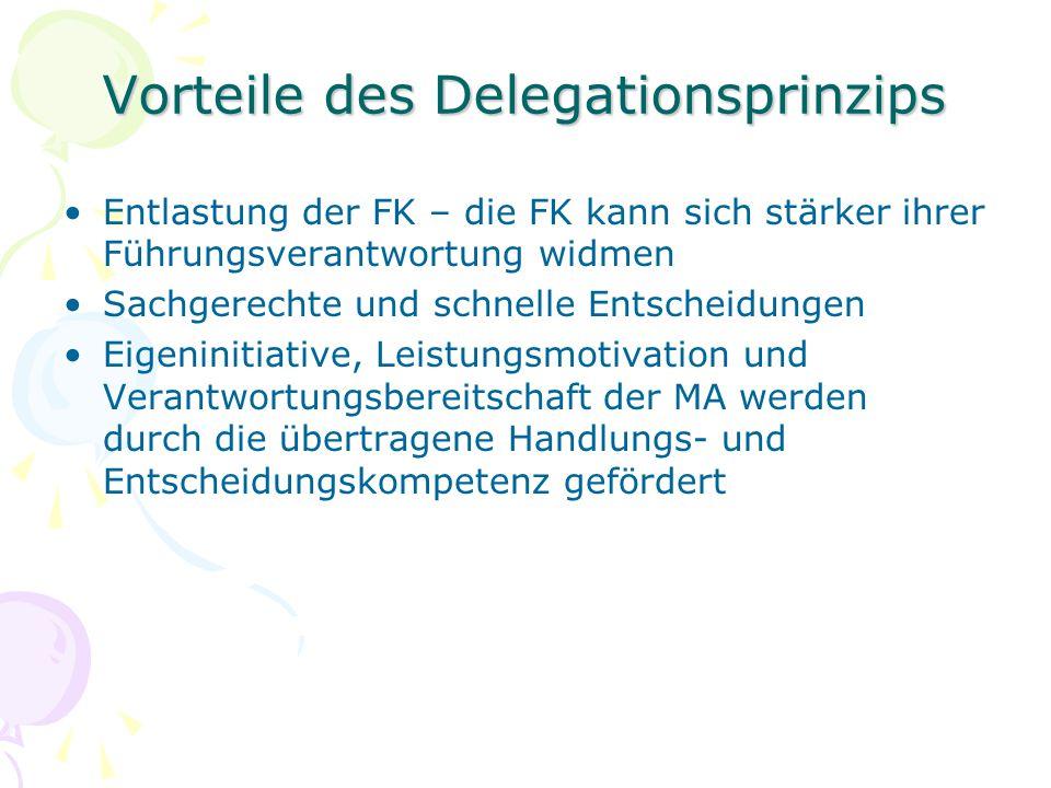 Vorteile des Delegationsprinzips