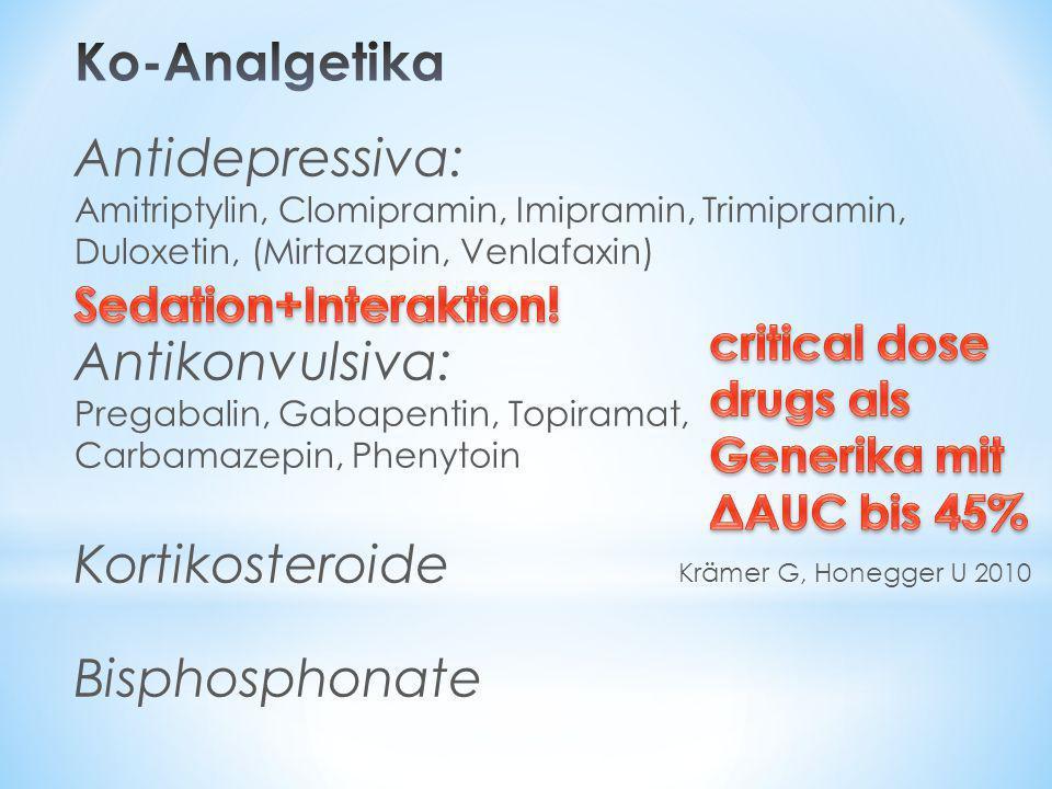 Ko-Analgetika Antidepressiva: Antikonvulsiva: Kortikosteroide