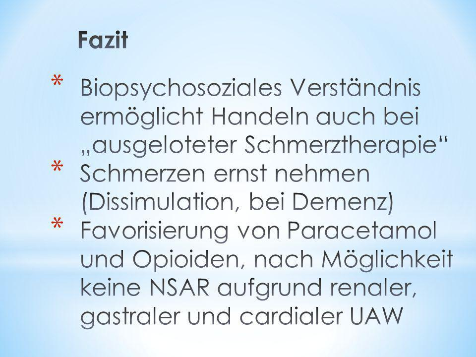 """Fazit Biopsychosoziales Verständnis ermöglicht Handeln auch bei """"ausgeloteter Schmerztherapie Schmerzen ernst nehmen (Dissimulation, bei Demenz)"""