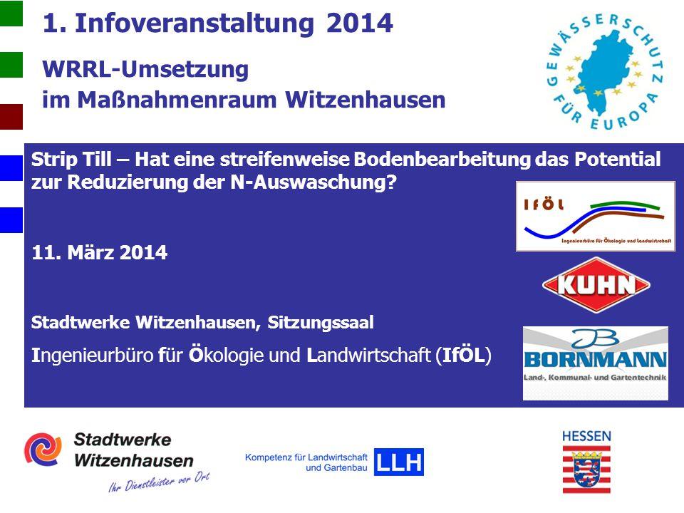 1. Infoveranstaltung 2014 WRRL-Umsetzung im Maßnahmenraum Witzenhausen