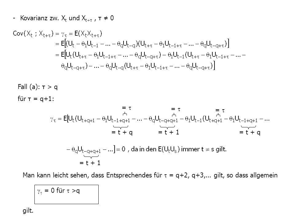 - Kovarianz zw. Xt und Xt+τ , τ ≠ 0