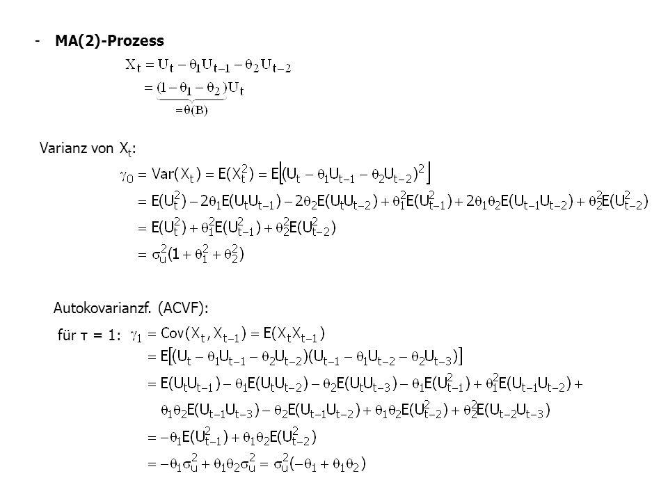 - MA(2)-Prozess Varianz von Xt: Autokovarianzf. (ACVF): für τ = 1: