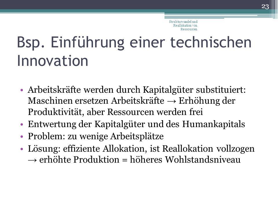 Bsp. Einführung einer technischen Innovation